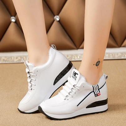 Lace Up Height Increase Platform Sneakers for Women