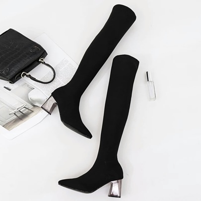 Chunky Heel Stretch Boots Over the Knee Shoes for Women