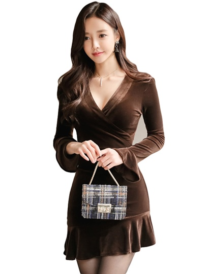 Coffee Velvet Women's Bodycon Dress