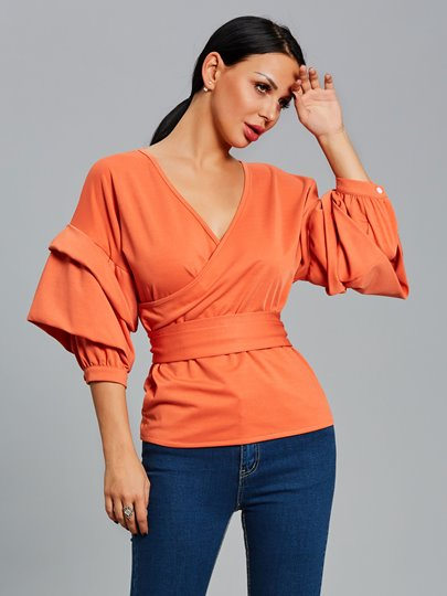 Sexy V-Neck Lantern Sleeve Women's Blouse With Belt