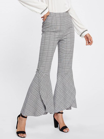 Plaid Print Flare Leg Women's Casual Pant