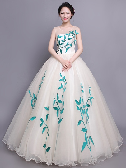 Scoop Appliques Sleeveless Quinceanera Dress