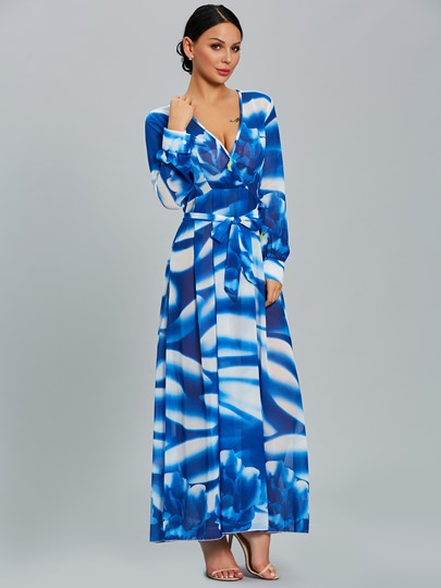 V Neck Chiffon Women's Maxi Dress
