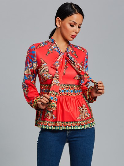 African Print Dashiki Collect Waist Women's Blouse