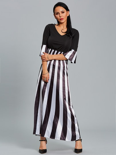 Striped Bell Sleeve Women's Maxi Dress
