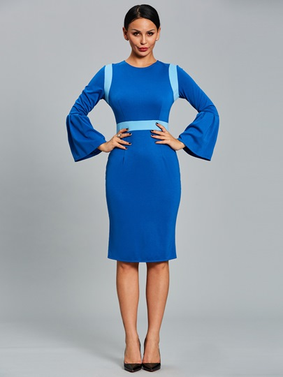 Bell Sleeve Blue Back Split Womens Bodycon Dress