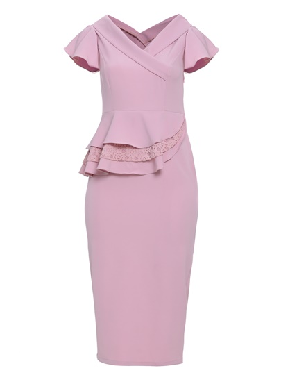 Dark Pink Double-Layered Women's Bodycon Dress