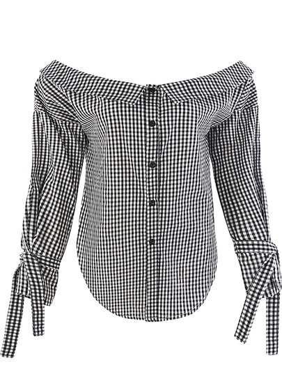 Plaid Loose Single-Breasted Women's Blouse
