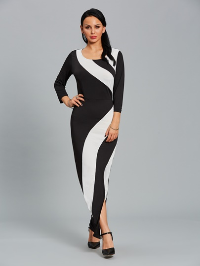3/4 Sleeve Split Bodycon Womens Maxi Dress