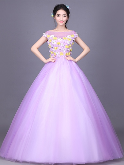 Bateau Cap Sleeves Flowers Lace Pearl Quinceanera Dress