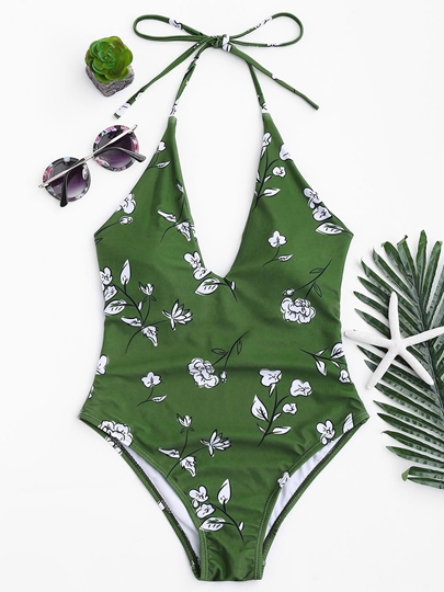 Floral V-Neck Backless One-Piece Swimsuit