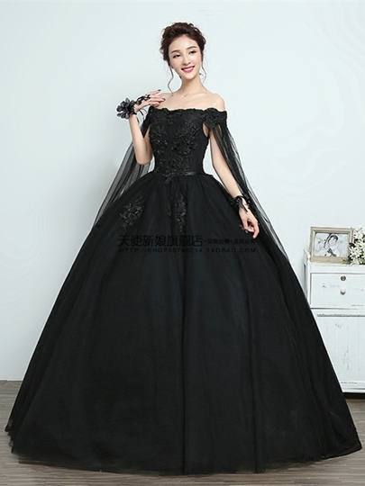 Bateau Appliques Cap Sleeves Floor-Length Quinceanera Dress