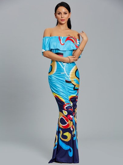 Slash Neck Ruffle Women's Maxi Dress