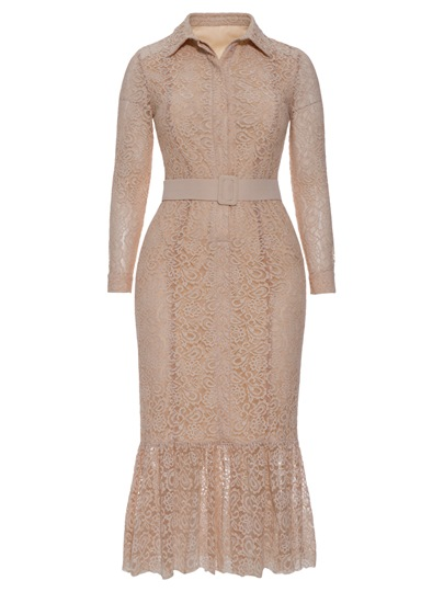 Nude Lapel Plus Size Women's Lace Dress