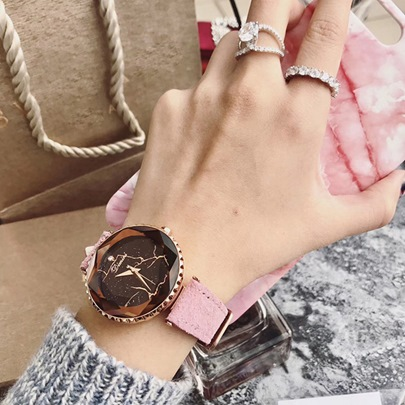 Artificial Leather Strap Lightning Pattern Ultra Violet Watches