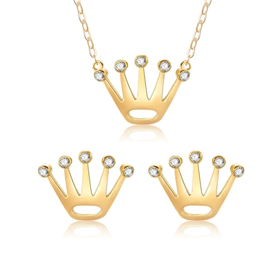 Gold Plated Crown Jewelry Sets