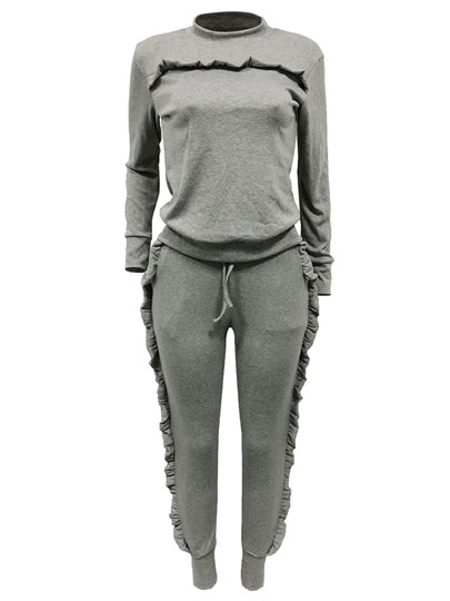 Flounce Patchwork T-Shirt And Pants Women's Two Piece Set
