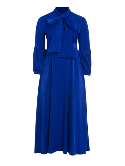 Plain Plus Size Lantern Sleeve Women's Maxi Dress