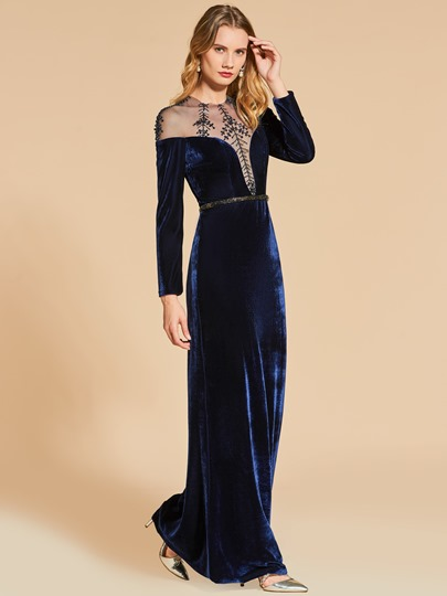 Jewel Appliques Sashes Sheath Floor-Length Evening Dress