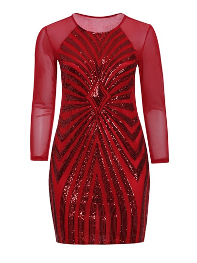 Red Plus Size Sequins Women's Bodycon Dress