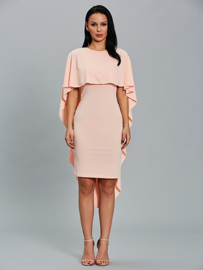 Pink Round Neck Women's Cape Dress