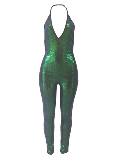 Sexy Backless Skinny Women's Sequins Jumpsuits
