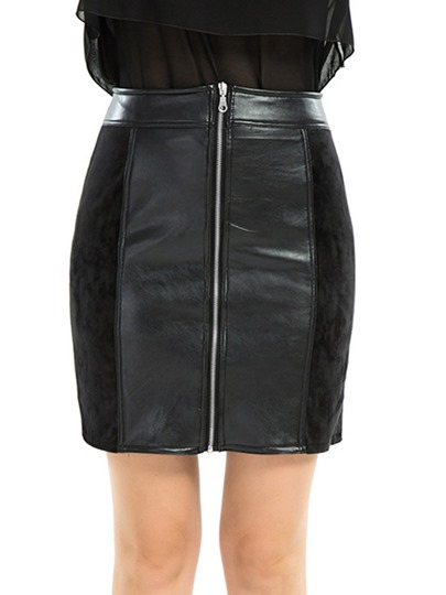 Plain Zipper Patchwork Women's Mini Skirt
