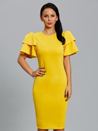 Yellow Falbala Women's Bodycon Dress