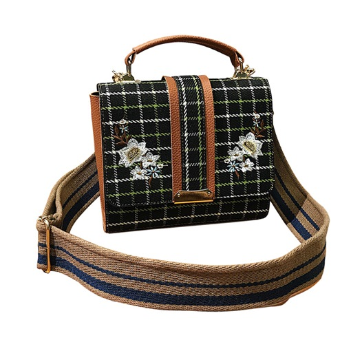 Casual Floral Embroidery Plaid Women Tote