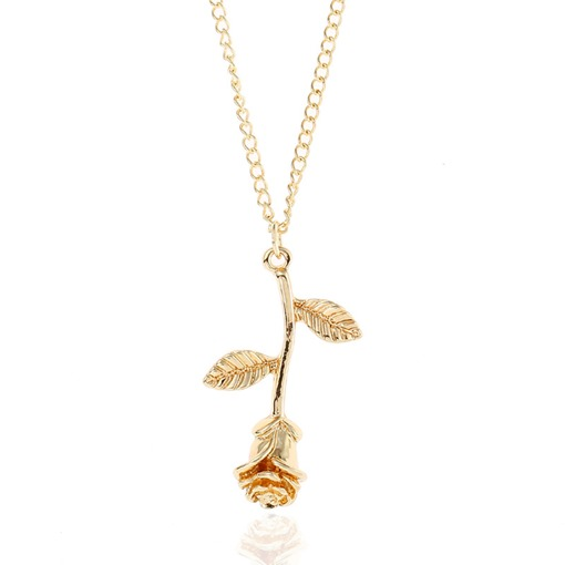 Gold Plated Rose Shaped Simple Necklace