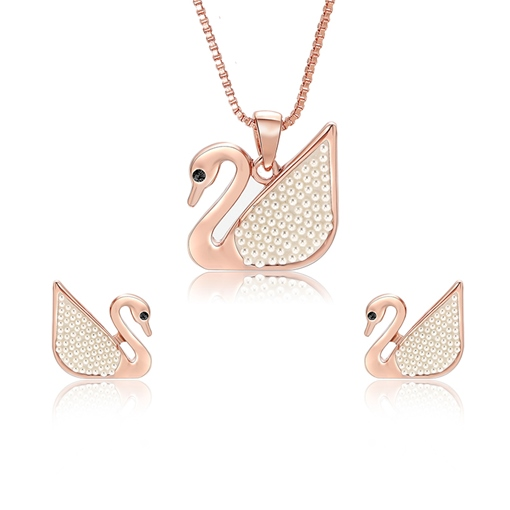Rose Gold Swan Shaped Jewelry Sets