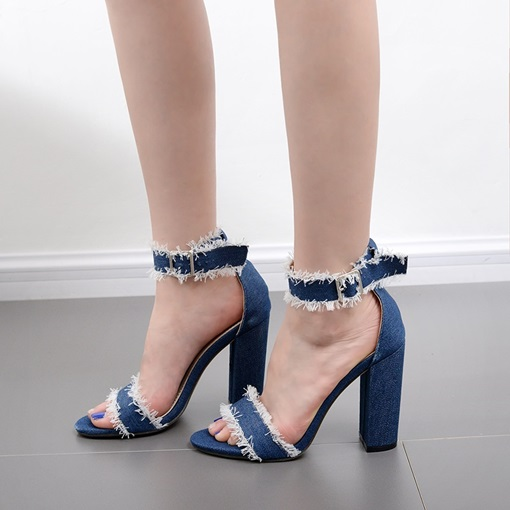 Denim Blue Worn Unedged Thick Heel Sandals for Women