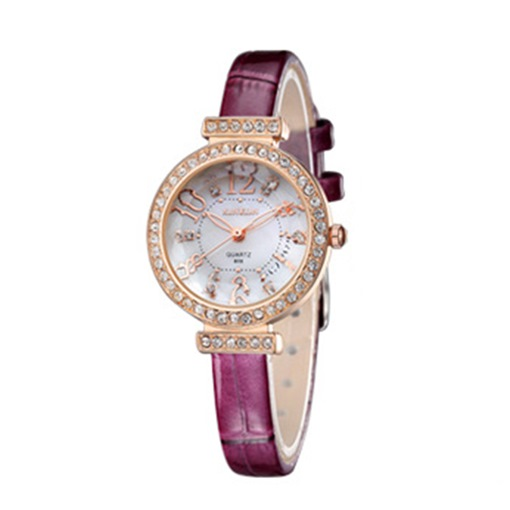 Diamante Artificial Leather Strap Water Resistant Ultra Violet Watches