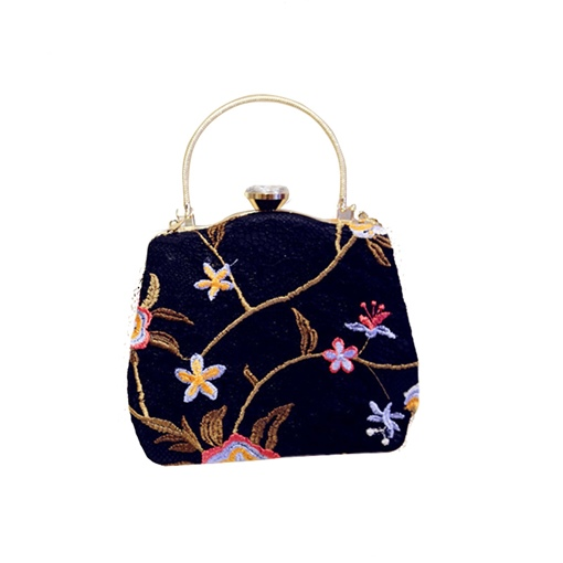 Vintage Floral Embroidery Women Evening Clutch