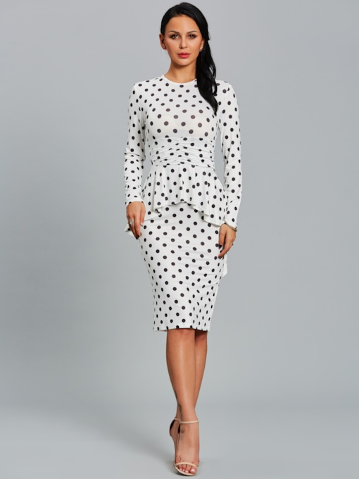 White Double-Layered Polka Dots Women's Bodycon Dress