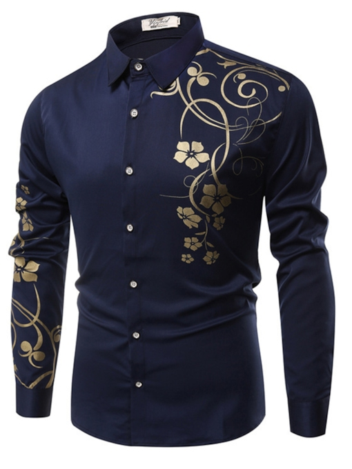 Lapel Floral Print Luxury Slim Men's Shirt
