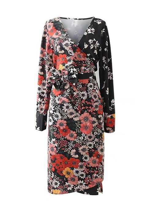 Floral Lace up Women's Long Sleeve Dress