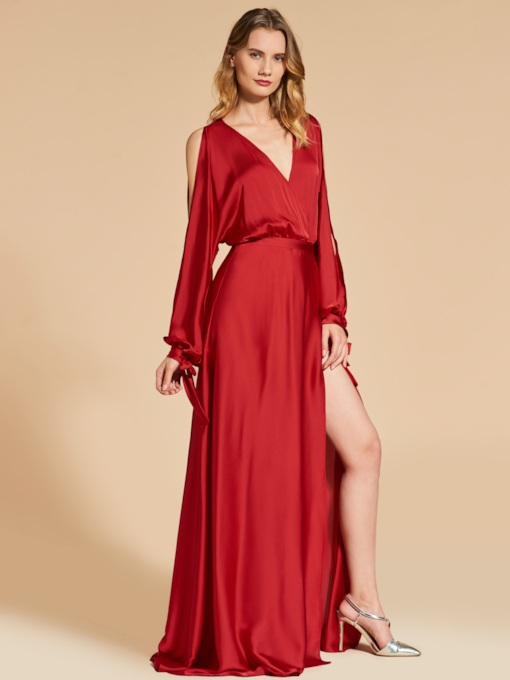 A-Line Long Sleeves Open Shoulder Split-Front Evening Dress