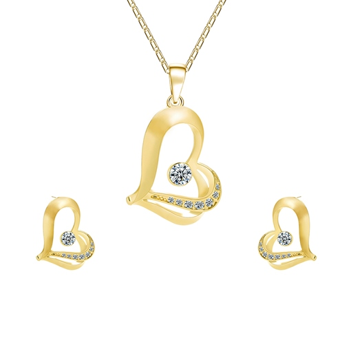 Hollow Out Diamante Heart Jewelry Sets