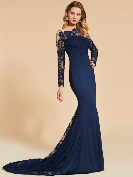 Court Train Mermaid Long Sleeves Lace Evening Dress