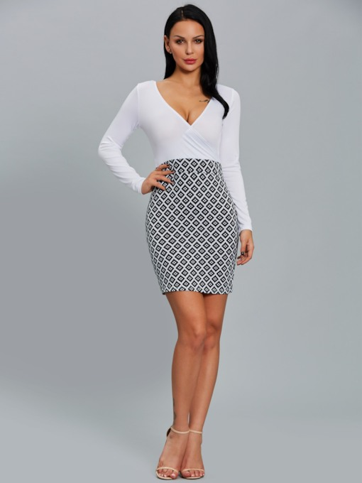 White V Neck Women's Bodycon Dress