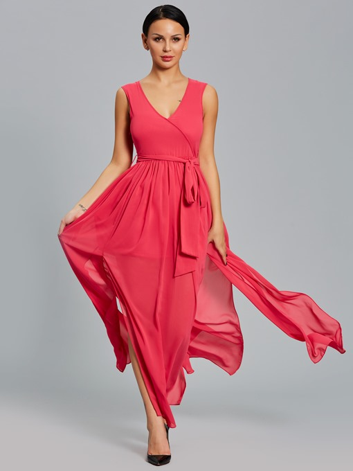 Plain V Neck Tiered Women's Maxi Dress