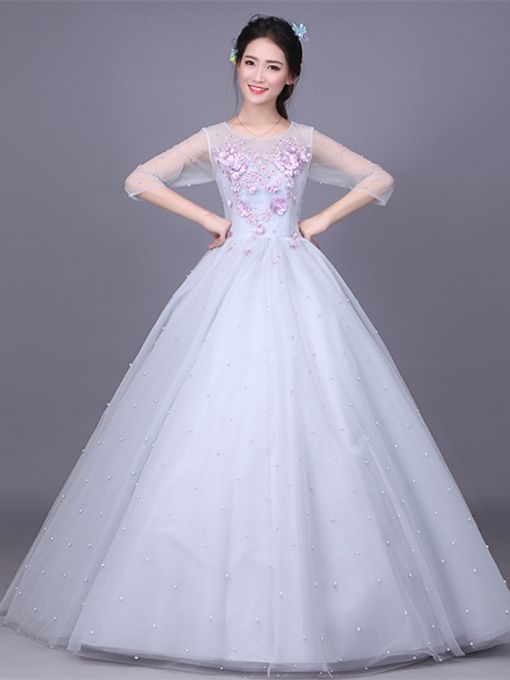 Appliques Pearl Scoop Long Quinceanera Dress