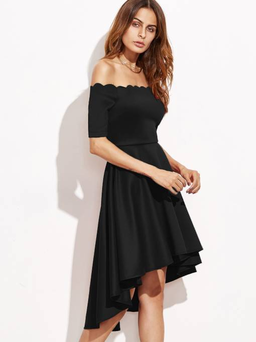 Off Shoulder Plain Asym Women's Day Dress