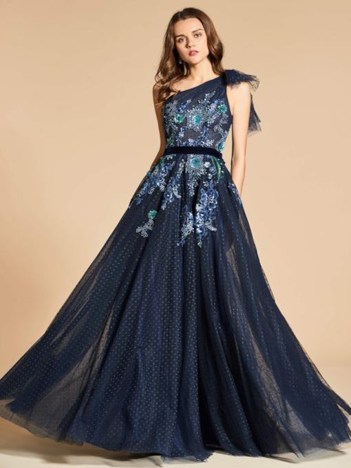 Lace A-Line One-Shoulder Floor-Length Evening Dress