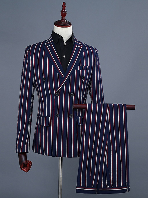Collar Stripe Double-Breasted Slim Fit Cotton Blends Men's Suit