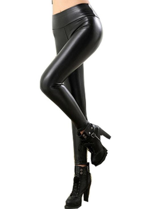 Slim Faux Leather Women's Thicker Leggings