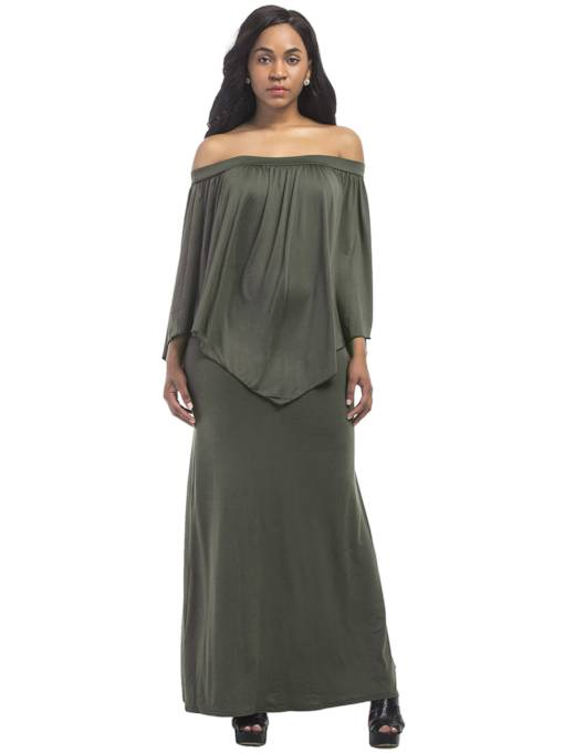 Off Shoulder Plain Women's Maxi Dress