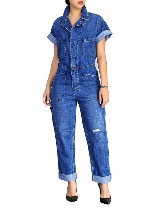 Loose Worn Hole Denim Women's Jumpsuits