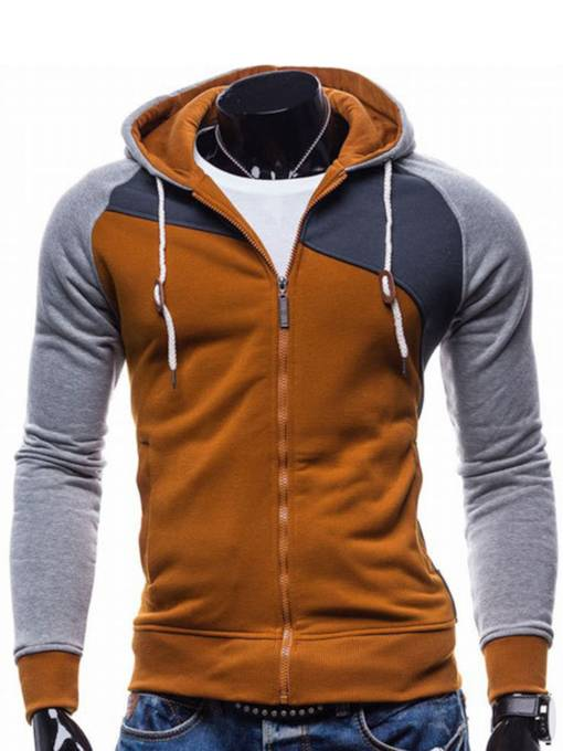 Cardigan Patchwork Zipper Plain Men's Hoodie